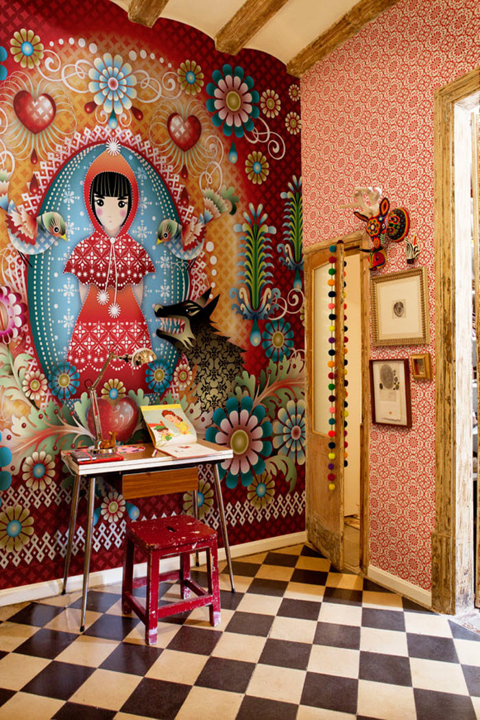 Red color girl wallpaper or mural