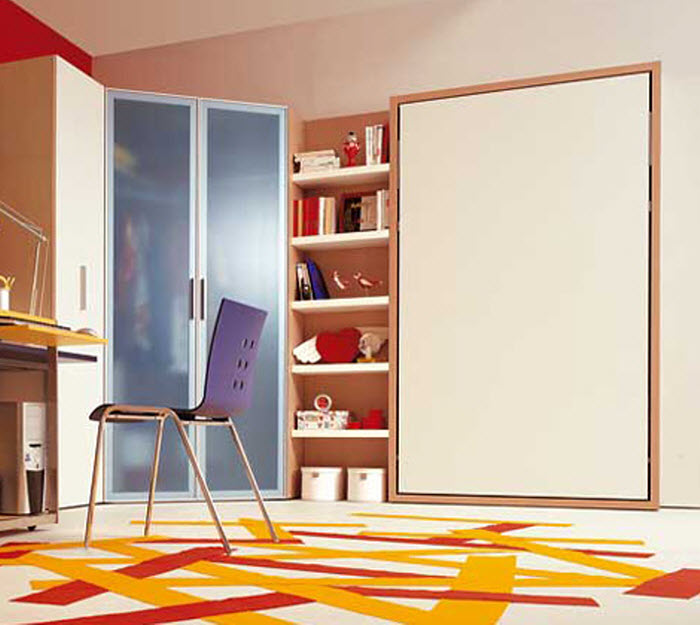 Space saving bed  for kids room with study space