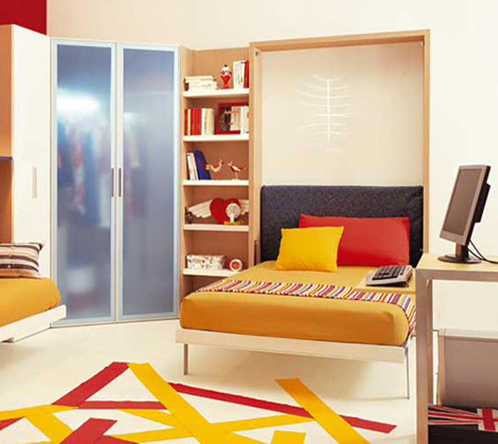 Space saving bed  opened for kids room with study space