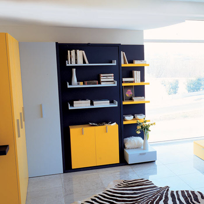 Space saving kids bed with book shelve