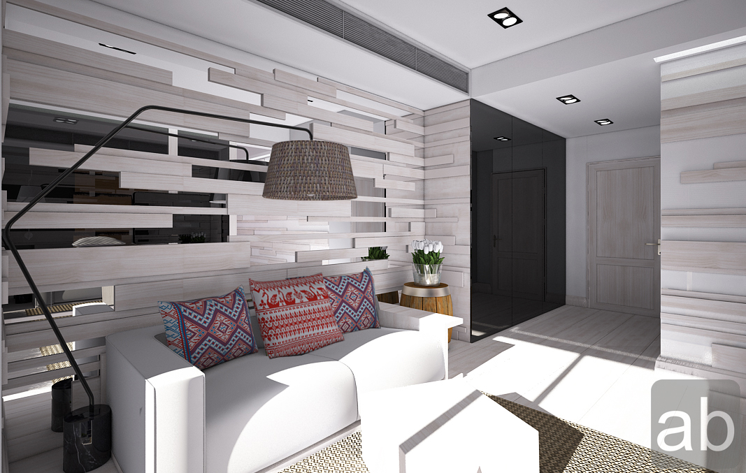 Small space white living room design.