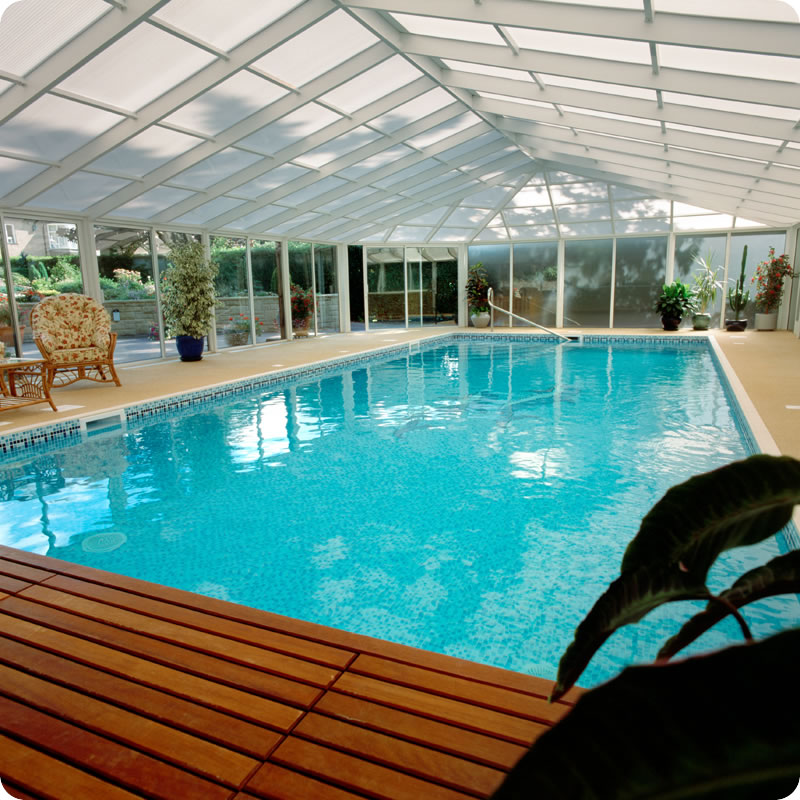 Swimming pool area with glass roof