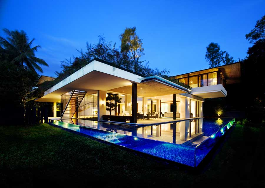 Tangga Residence with transparent swimming pool