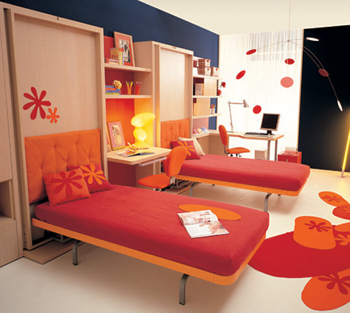 Orange Kids Room: Space Saving Beds For Kids