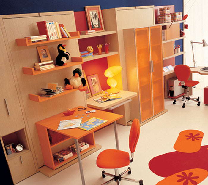 Two single foldable orange beds for kids room