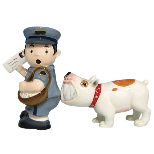 Mailman and Dog Salt and Pepper Shaker Set