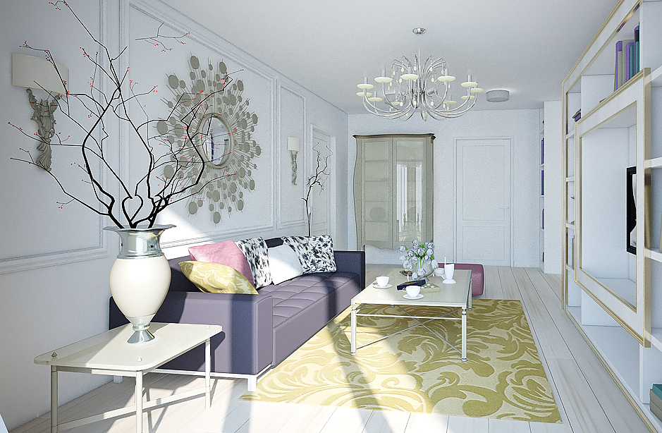 White Living room area with designer wall hanging