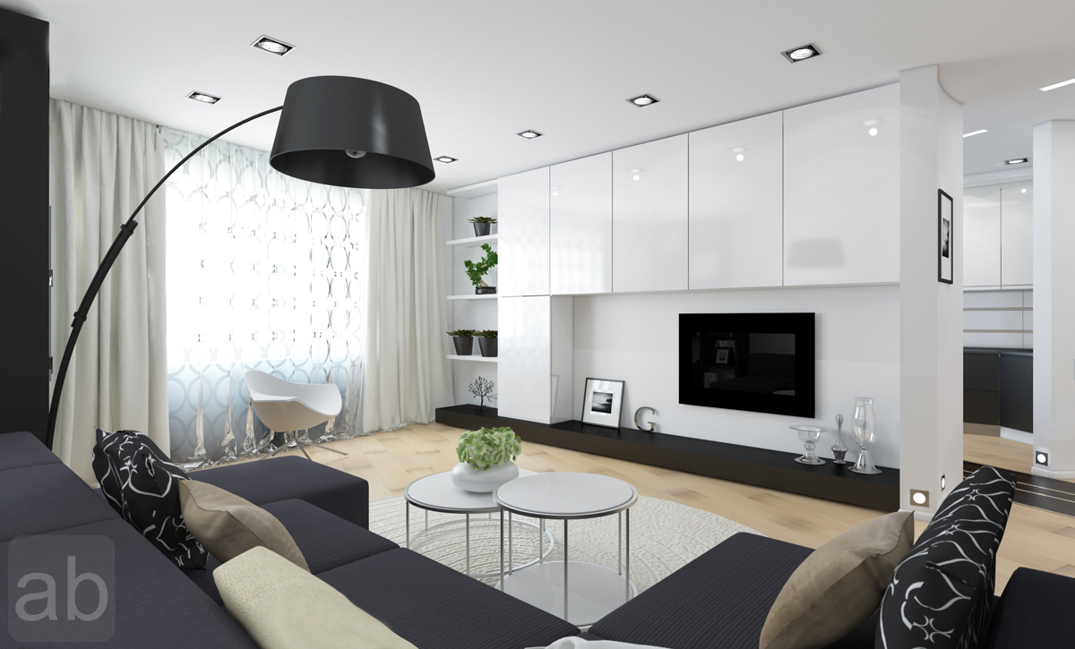 White And Black Living Room Design With Decorative Light