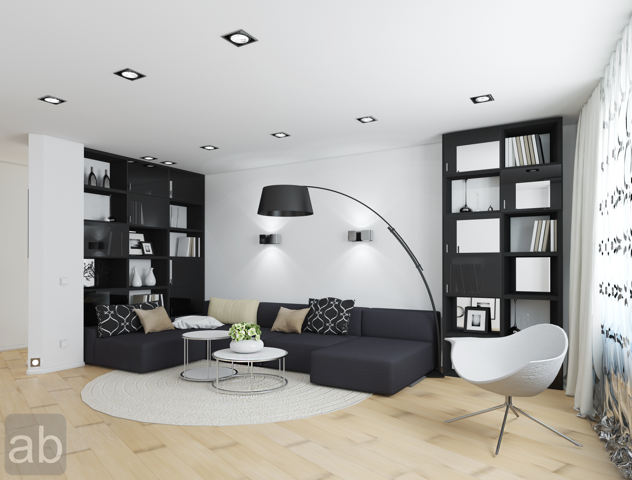 White and Black living room design