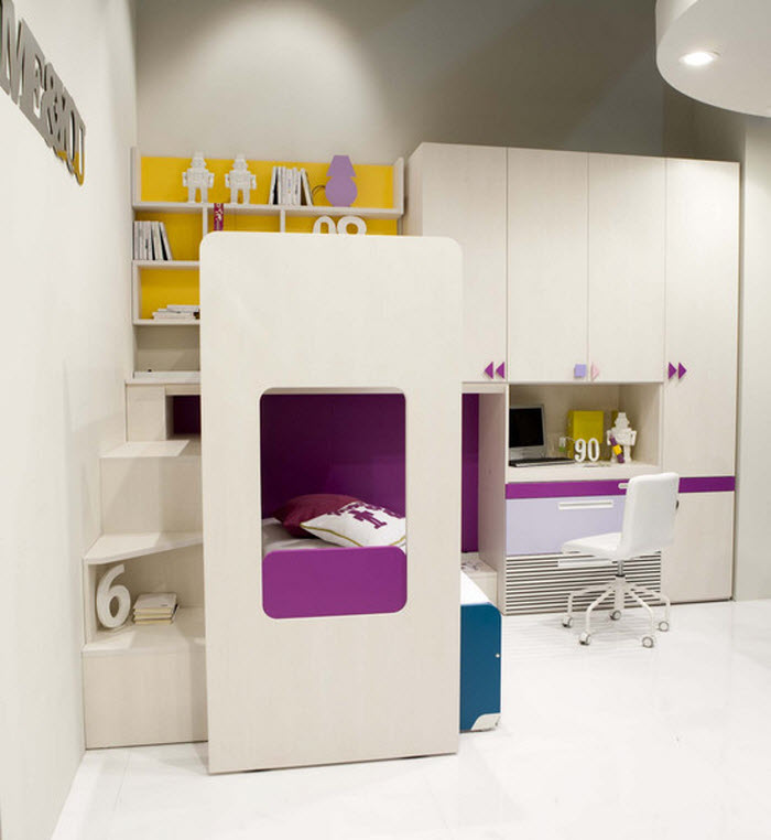 White and Purple study area for Kids