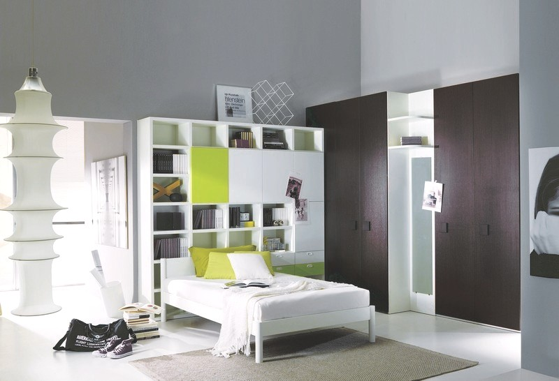 White and green kids bed with wardrobe