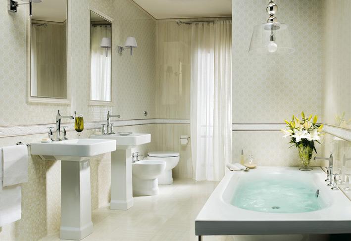 White bathroom design with decorative lights