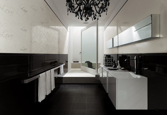 White color bathroom with black chandlier