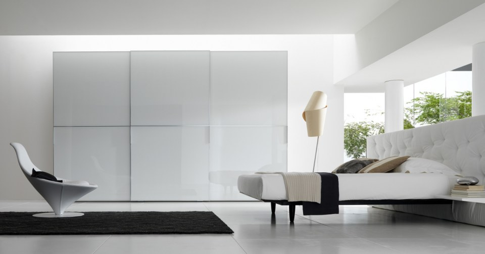 White glass closet design