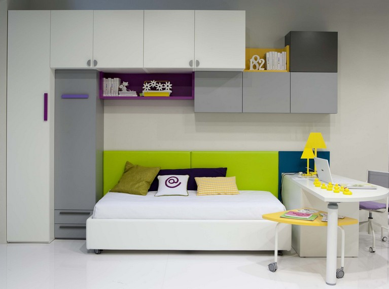 White kids bed design with study space