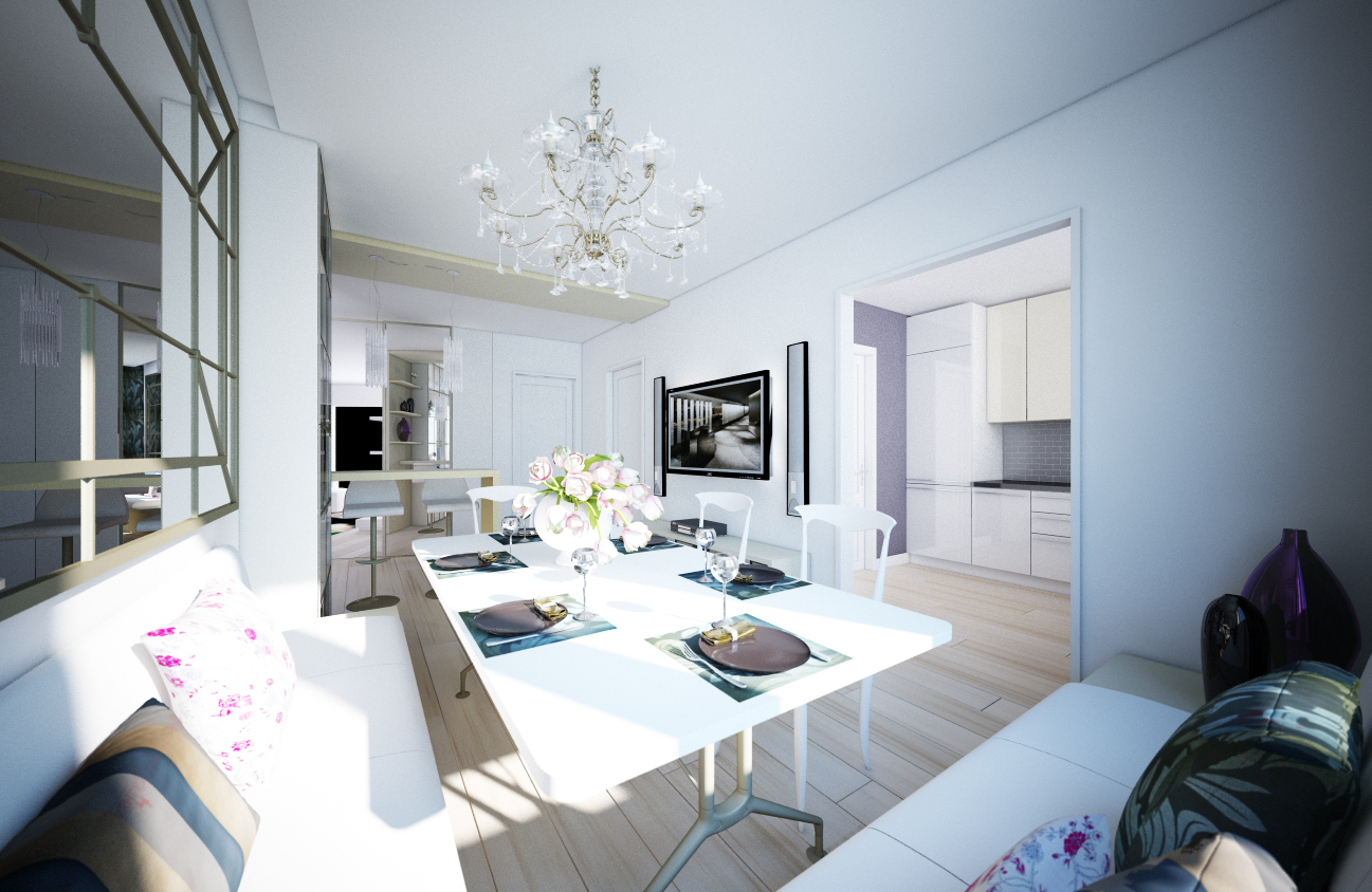 White living room sitting area with beautiful Chandelier