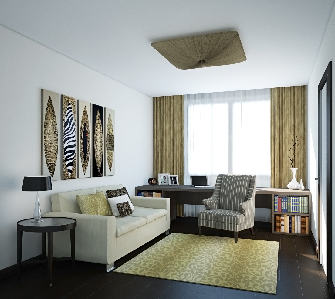White living room with musturd touch