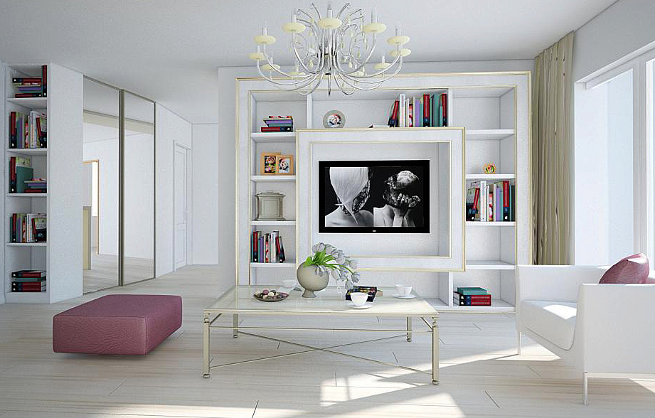 White living room with painting and pink sofa