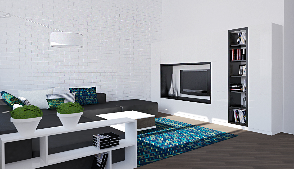 White livng room with blue carpet and Tv