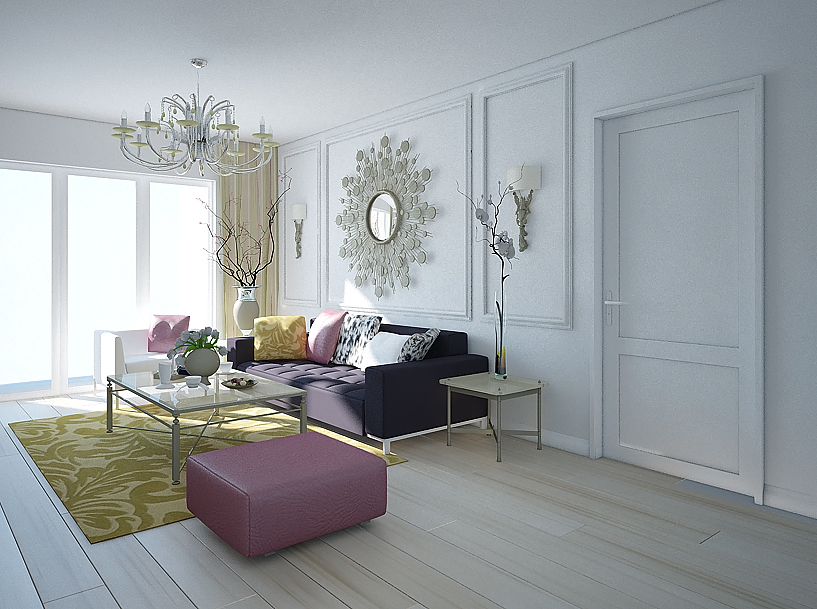 White room with yellow carpet and Chandelier