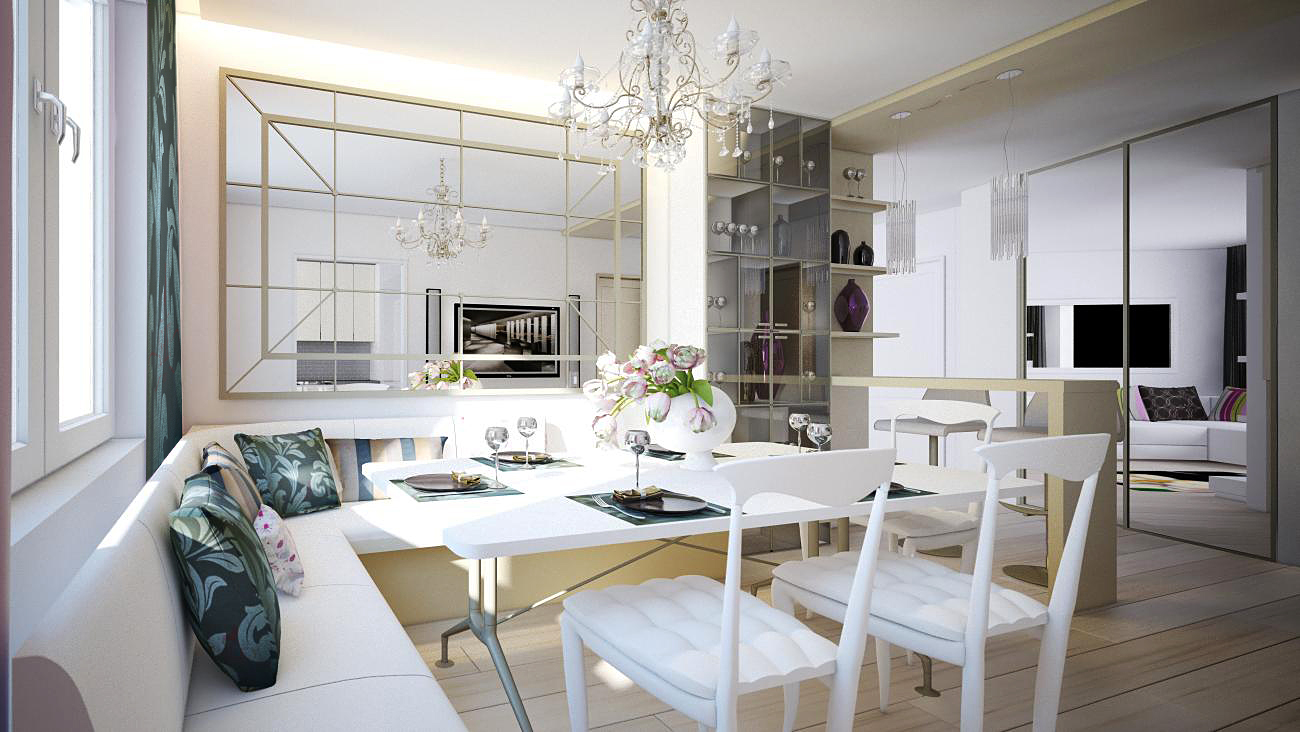 White sofa with white chair and table