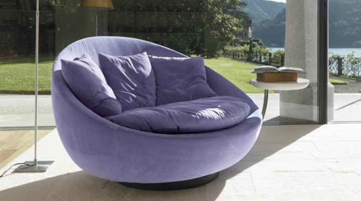 Wide comfortable  purple sofa chair