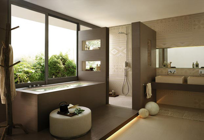 Window designs in bathroom with wooden work