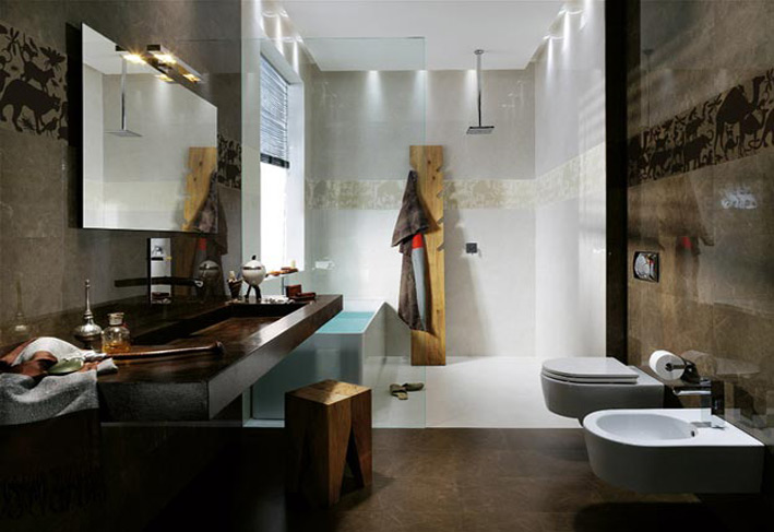 Wooden and tiles work in Bathroom