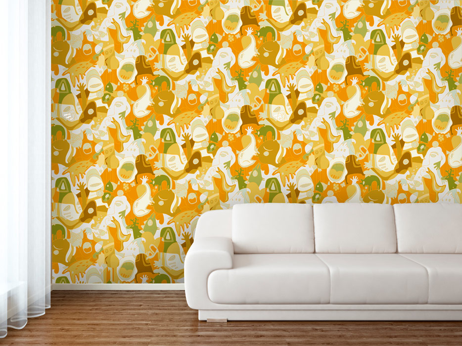 Yellow and green creative wallpaper pattern