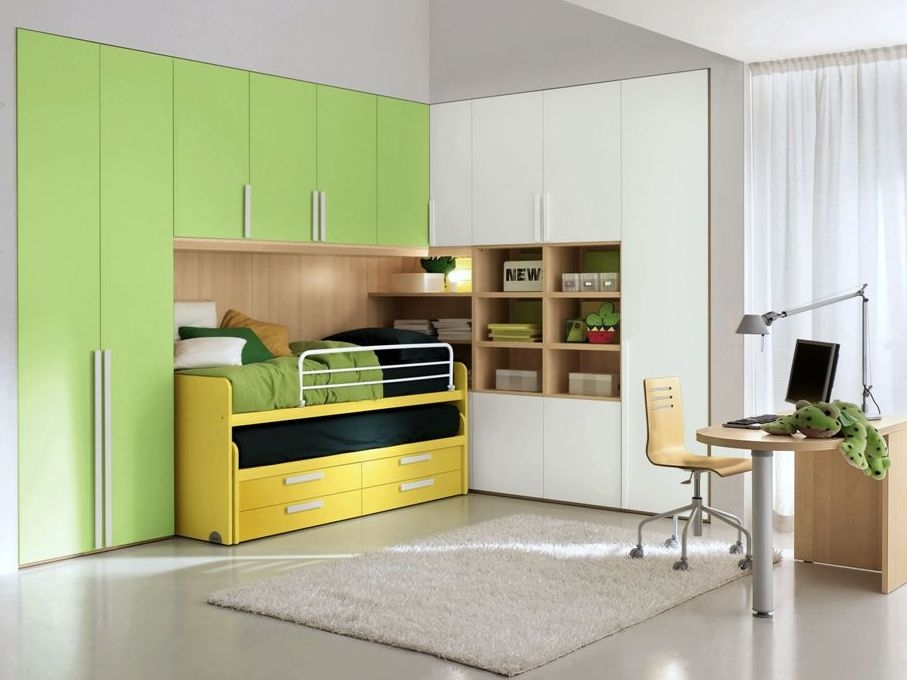 Yellow and green kid's bed with closet
