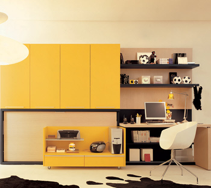 Yellow foldable bed  for kids room with study space