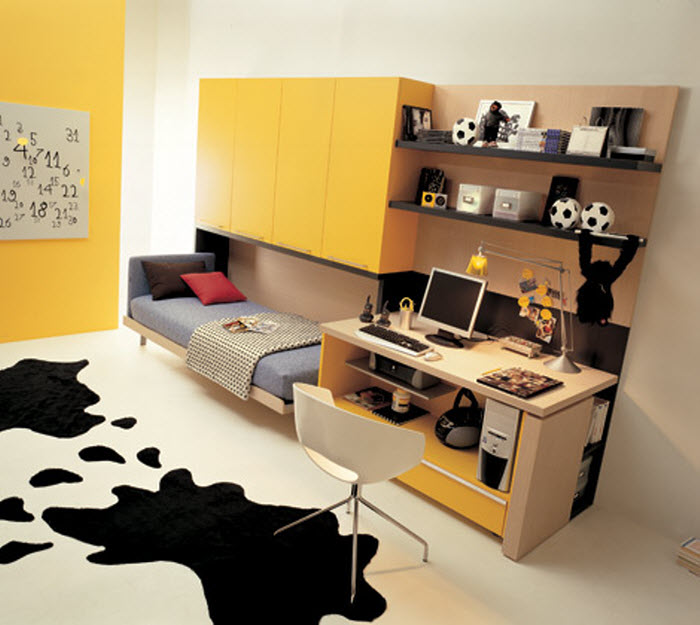 Yellow Foldable Bed Opened For Kids Room With Study Space