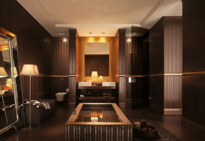 classic look in bathroom with yellow lights