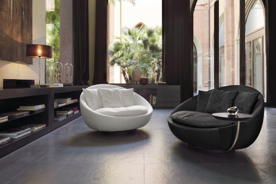 comfortable white and black sofa chairs