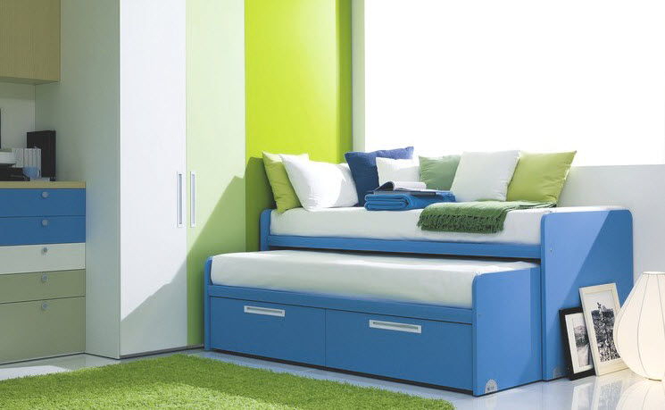 compact sliding bed design for kids room