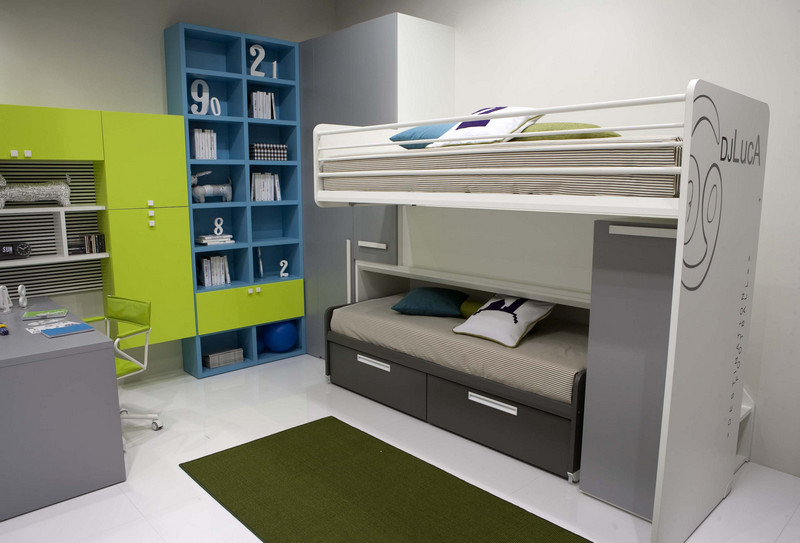 compact two bed design for kids room