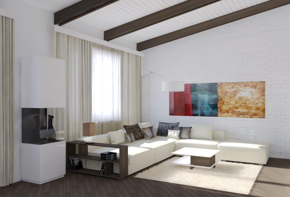 off white sofa with designer living room roof