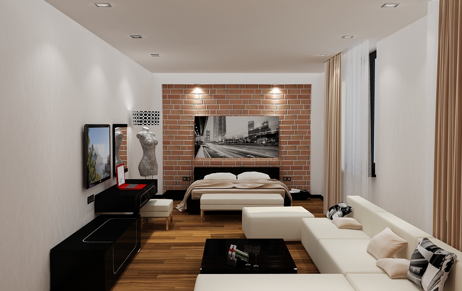 Brick wall design for bedroom
