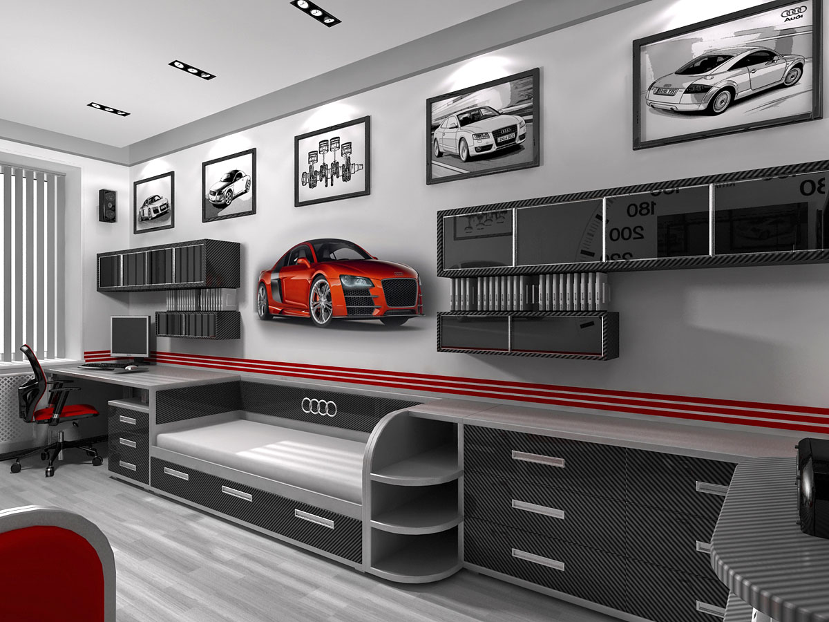 car themed bedroom design for young