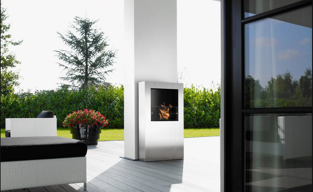 Fireplace in the white wall