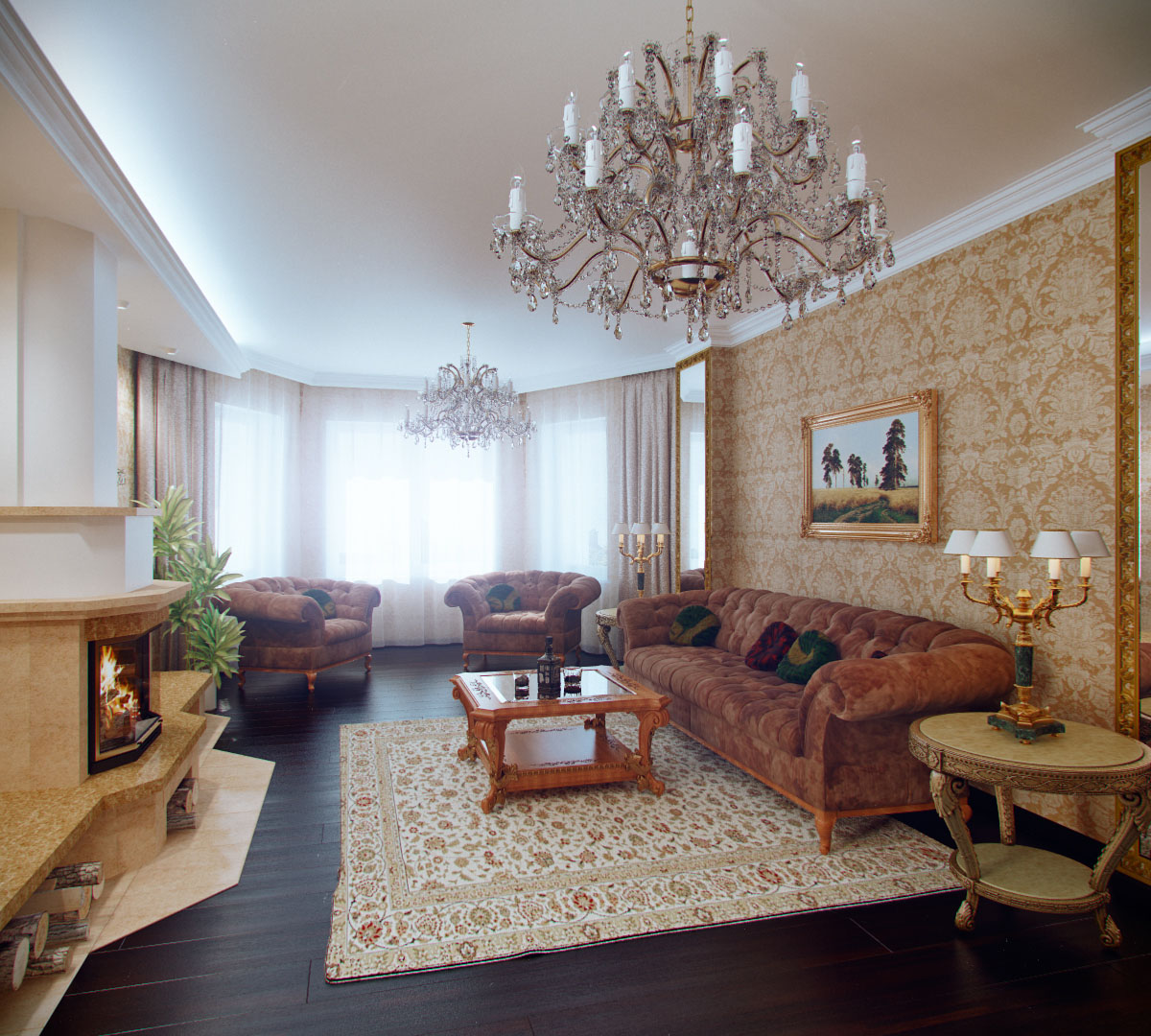 Living Room royal wall designs