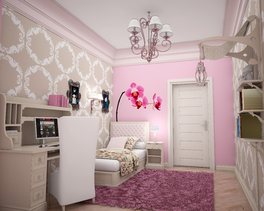 Room designer for girls - Pink Flower Wall Design For Girls Room Designer Wall Patterns Home Designing
