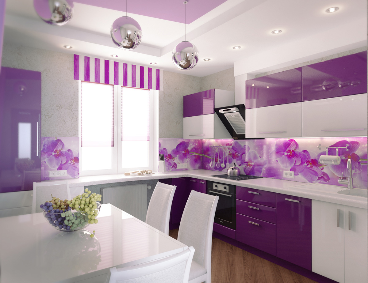 Purple kitchen wall  Designs