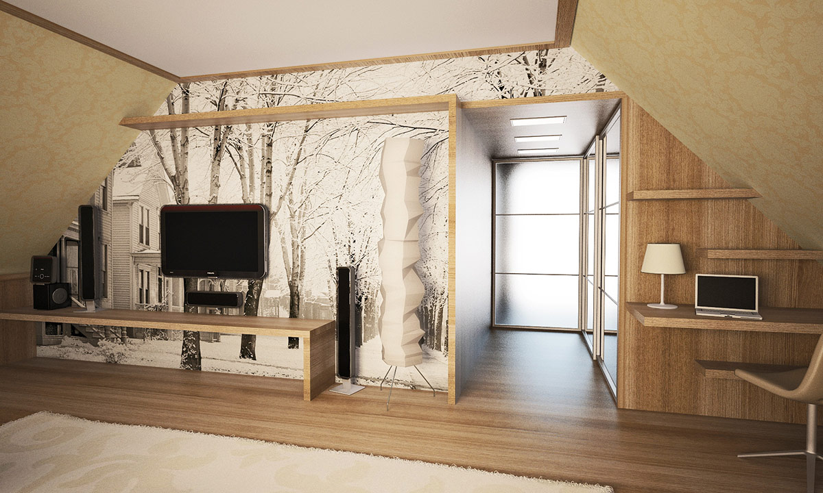 Tree picture on walls with wooden look
