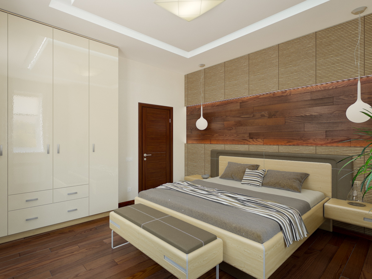 Wooden work on wall for Bedroom