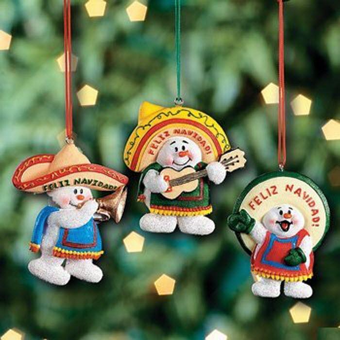 3 Feliz Navidad Snowman Christmas Decoration