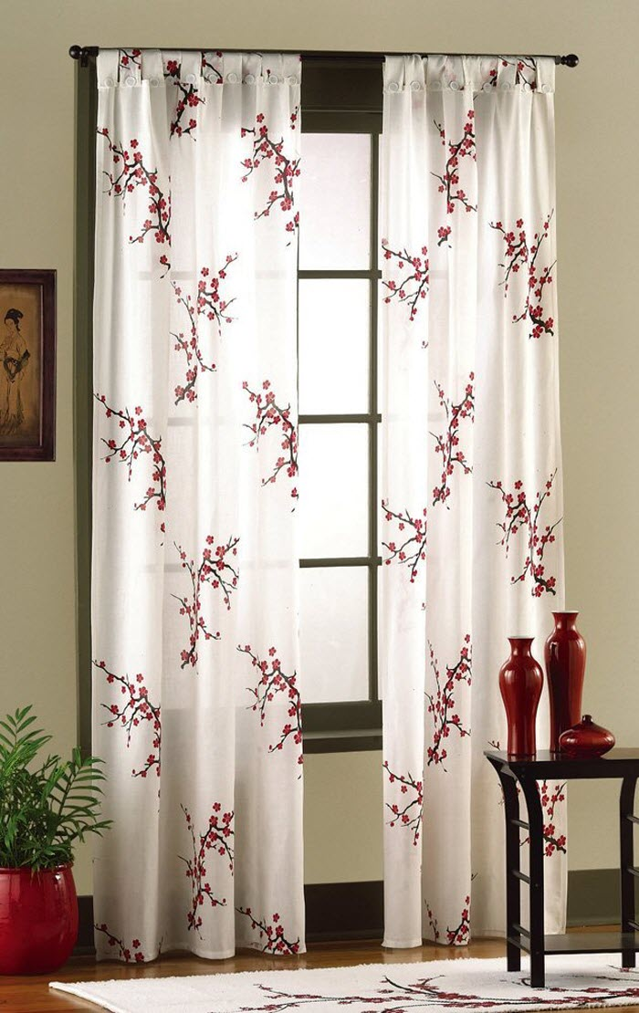 Asian Bedroom Cherry Blossom Curtain