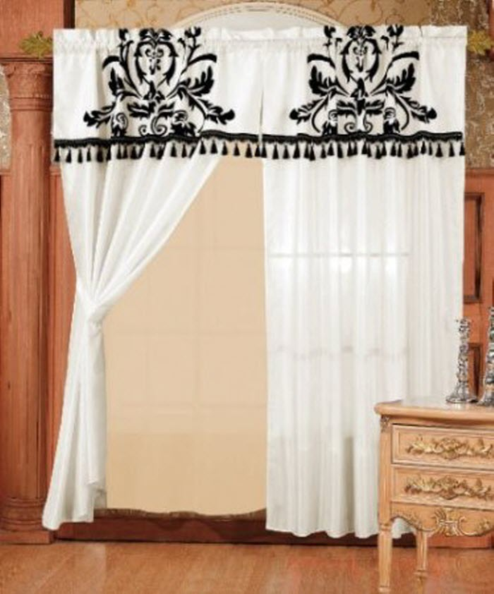 Different curtain design patterns home designing for Black and white curtain designs