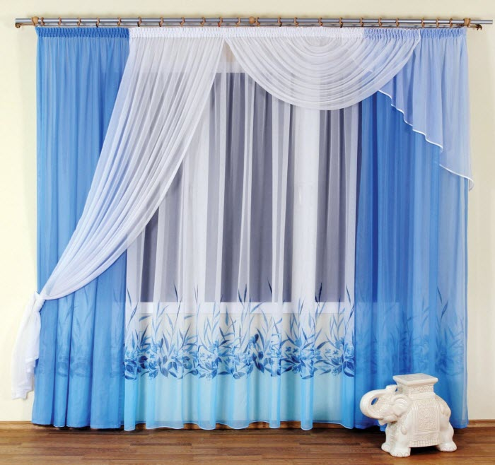 Blue and White curtain Design