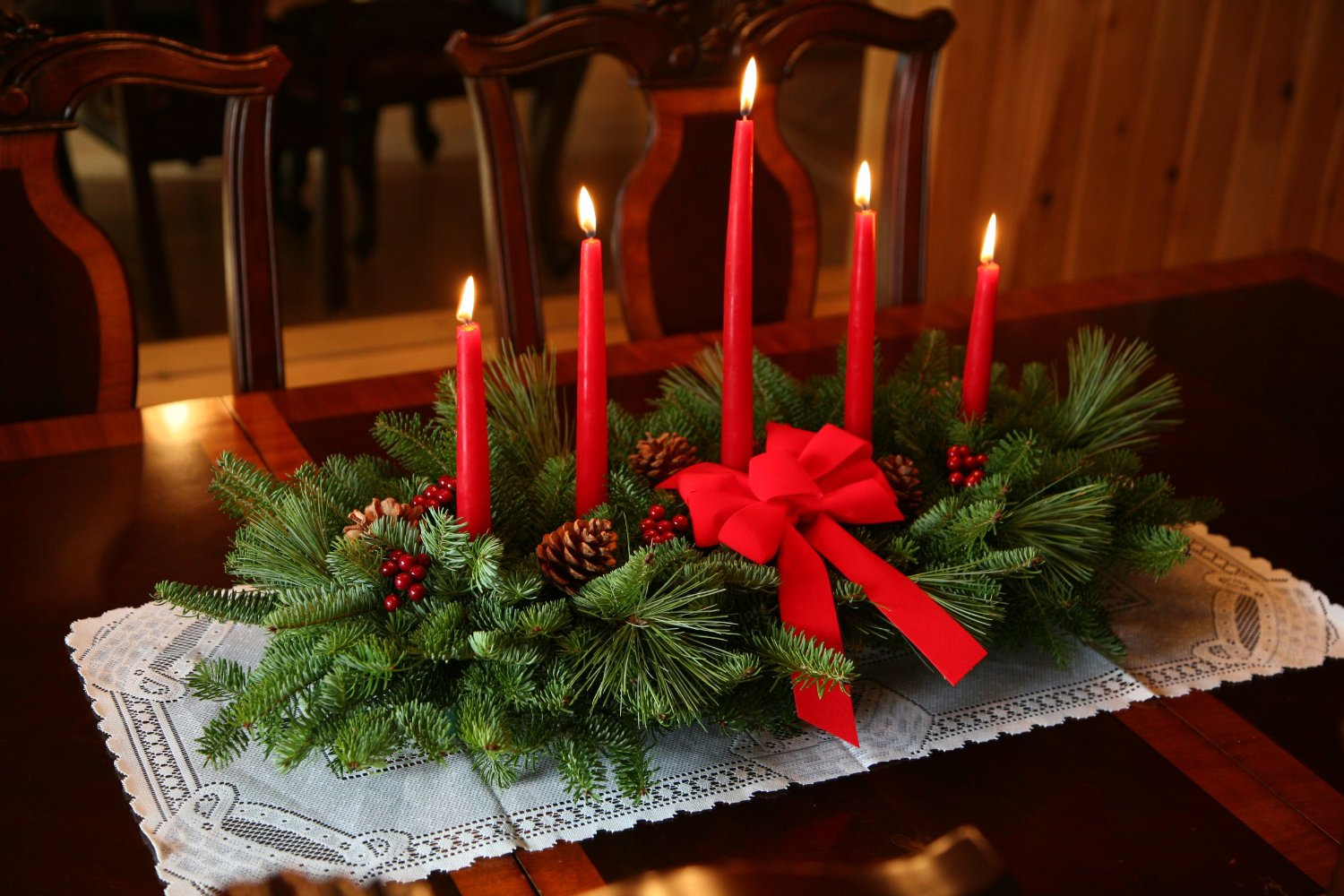 Candle Decoration on table for Christmas